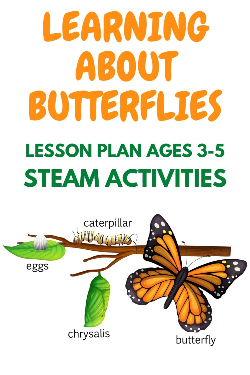 Life cycle of a butterfly lesson plan | Learning about butterflies | STEAM Activities, videos + links | butterfly lesson plans preschool | butterfly lesson plans for toddlers | learn about butterflies day | butterfly lesson plan for toddlers | #butterflycraft #butterflylessonplan #learningaboutbutterflies